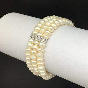 Freshwater Pearl Clear Rhinestone Stretch Bracelet